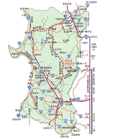 秋田県の道路地図